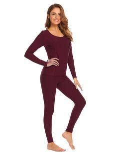 49cb72932f2f8 Women's Cotton Thermal Underwear Long Johns Winter Set Fleece Lined S-XXXL  - Wine Red