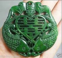 Chinese Hand-Worked carved Green Jade Fish and Bat Pendant