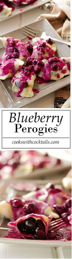 Homemade Blueberry Perogies with Blueberry Sour Cream Sauce (Baking Dinner Sour Cream) Just Desserts, Delicious Desserts, Dessert Recipes, Yummy Food, Delicious Dishes, Recipes Dinner, Ukrainian Recipes, Russian Recipes, Ukrainian Food