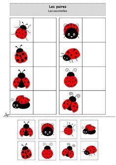 Fiche d'activité de type association - Les paires - les coccinelles - septembre en rouge