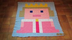 "Pixel plaid ""Princesse"" by Lonzine - Crochet pattern by Hooklook in the book: 100 pixel plaids au crochet"