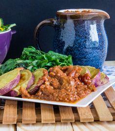 WIAW + BBQ mocha fig sauce w/baked sweet potatoes {vegan + gluten-free} Fig Sauce, Vegan Gluten Free, Mocha, Sweet Potato, Bbq, Potatoes, Chicken, Meat, Baking