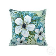 #Summer Blue #Floral & #Butterflies Throw #Pillow