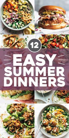 When it's summertime and the temperatures are rising and your calendar is exploding and you feel like you might just lose your mind, you need to keep it easy peasy when it comes to dinnertime. Here are some of our favorite easy summer dinners! Healthy Summer Recipes, Healthy Dinner Recipes, Cooking Recipes, Quick Easy Healthy Dinner, Sunday Dinner Recipes, Quick Meals, Cooking Corn, Whole30 Recipes, Winter Recipes