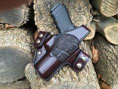 Nightingale Leather Glock 20 Griffon V OWB Holster w/ Thumb Break ~ Cordovan Cowhide ~ Nicotine Elephant Reinforcement Panel ~ Full Grain Leather Lining ~ Black Stitching ~ Nickel Snaps