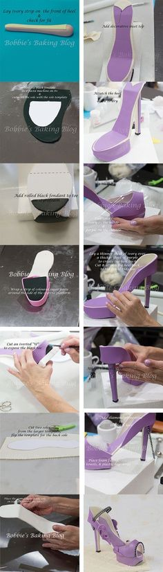 High Heel Platform Shoe Tutorial, check out the full tutorial: http://bobbiesbakingblog.com/blog/2013/04/02/fondant-platform-stilleto-high-heel-shoe-tutorial/