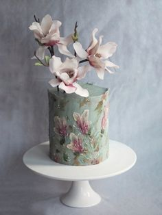 Magnolia Painted Impressionist Wedding Cake