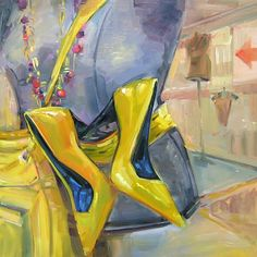 Picking Citrus by Mary Maxam Oil ~ x Red Umbrella, Yellow Shoes, Shoe Art, Painted Shoes, Fashion Art, Fashion Drawings, Mellow Yellow, Contemporary Paintings, Painting & Drawing