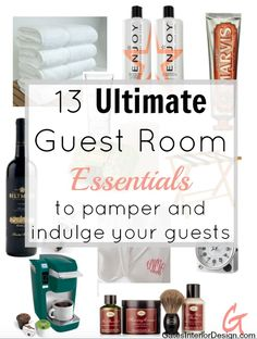 13 ultimate guest room essentials. Create a beautiful experience for your guests, to help influence their mood. Luxury is not about expense, but how you make your guests feel.   GatesInteriorDesign.com