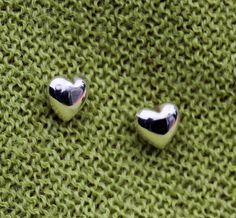 Sterling Silver Heart Shaped Post Earrings by UrpiPeruvianMarket