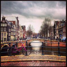 world travel, amsterdam canal and bike