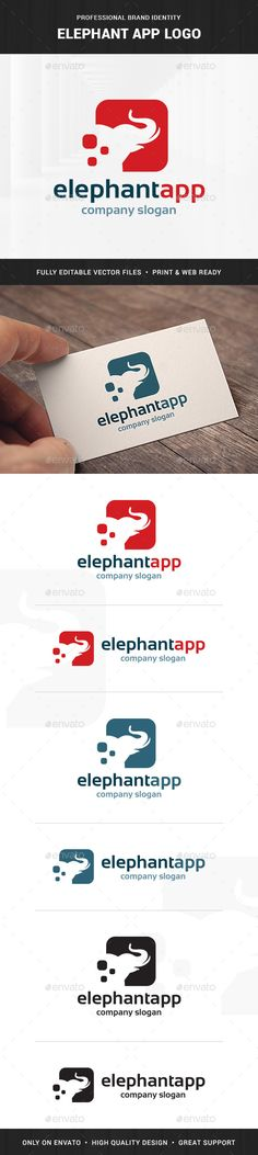 Elephant App Logo Design Template Vector #logotype Download it here: http://graphicriver.net/item/elephant-app-logo-template/6584366?s_rank=365?ref=nesto