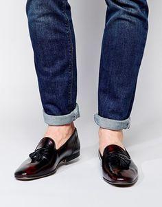 Dark Denim + ASOS Tassel Loafers in Leather