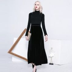 """HOT PRICES FROM ALI - Buy """"Crochet velvet dress 2017 black elegant vintage cutout patchwork a full dress high waist slim one-piece dress """" for only USD. Evening Dresses With Sleeves, Cheap Evening Dresses, Mermaid Evening Dresses, Maxi Dress With Sleeves, Maxi Dresses, Chinese Style Prom Dress, Cheap Elegant Dresses, Black Turtleneck, Turtleneck Dress"""