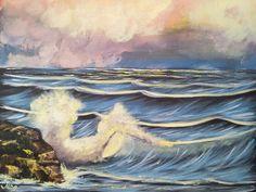 Title: Ocean waves Size: 16x20 Inches Medium: Acrylic on canvas Status: Available (For sale) Price: $ 500  #painting#acrylic#canvas#landscape#art#ocean#waves#rocks#splash#walldecor Wave Rock, Acrylic Canvas, Ocean Waves, Paintings For Sale, Landscape Art, Rocks, Wall Decor, Medium, Wall Hanging Decor