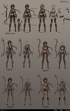 Rogue CharaDesign Armor-Set Picture  (2d, fantasy, character, girl, woman, game art, archer)