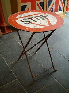 repurposed road sign table
