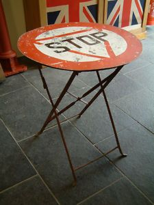 repurposed road sign table