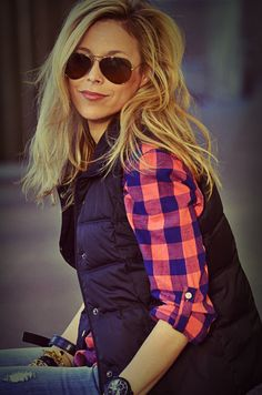 plaid + vest + aviators