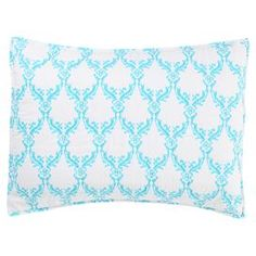 "Cotton percale pillow sham in blue with a floral trellis motif. Hand-dyed in India.   Product: ShamConstruction Material: Cotton percaleColor: Blue and white  Features: Hand-printed in IndiaInsert not included  Dimensions: Standard: 21"" x 27""Euro: 27"" x 27""  Cleaning and Care: Machine washable"