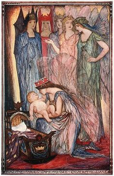 """Illustration by H.J. Ford for Andrew Lang's The Red Romance Book, 1921. Caption reads """"How the Fairies came to see Ogier the Dane."""""""
