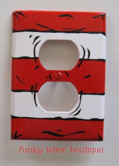 Dr. Seuss Hand Painted Cat in the Hat Red Striped Outlet Plate. $8.99, via Etsy.....Playroom idea?