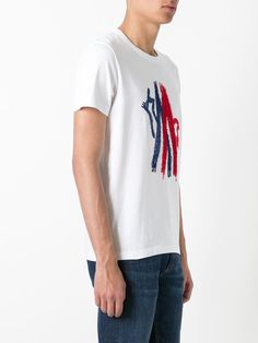 MONCLER Embroidered Mountain Logo Crewneck T-Shirt, White/Red/Blue