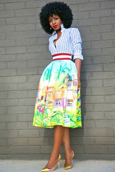Striped Button Down + Stella Jean Village Print Skirt