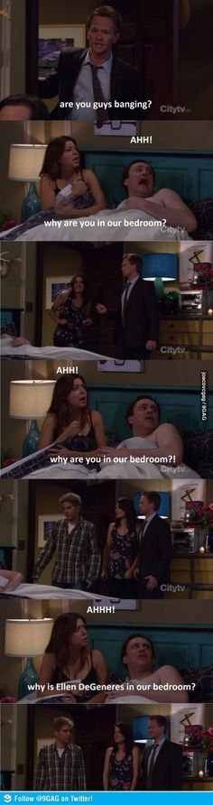 Ellen & the guys of HIMYM // funny pictures - funny photos - funny images - funny pics - funny quotes - How I Met Your Mother, Ellen Degeneres, Funny Images, Funny Photos, Images Photos, Hilarious Pictures, Funny Videos, Comedy, Funny Scenes