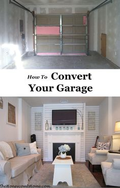 Turn Garage Into Master Bedroom. Turn Garage Into Master Bedroom. Layout for Converted Garage to Master Bedroom Convert Garage To Room, Garage Conversion To Family Room, Garage To Living Space, Living Spaces, Garage Conversions, Garage Turned Into Living Space, Living Room, Cottage Living, Living Area