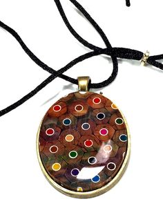 Oval Colored Pencil Pendant Handmade Resin Necklace by AATurning