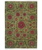 RugStudio presents Tibet Rug Company 60 Knot Premium Tibetan Poppies Green Hand-Knotted, Best Quality Area Rug