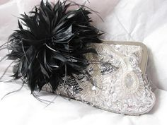 Silver Sequin Feather accent Wedding Bridal by weddingswithflair