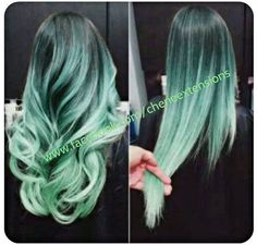 Balayage Dip Dye 8A Remy Ombre Balayage Human Hair Extensions Full Head Weft 1b Off Black Mint Green Ombre - Looking for affordable hair extensions to refresh your hair look instantly? http://www.hairextensionsale.com/?source=autopin-pdnew
