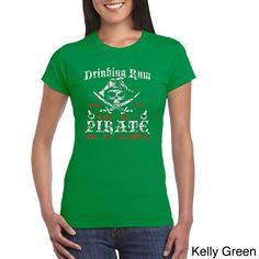 Los Angeles Pop Art Women's Rum Drinking Pirate T-shirt