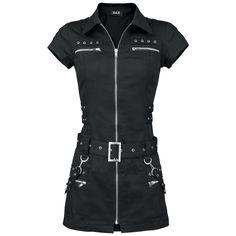 Zwarte mini-jurk met doorlopende rits op de voorkant. - studs en rits details - afneembare bondagebanden - lengte: ca. 80 cm