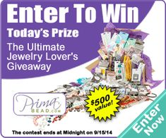 Enter to win the Ultimate Jewelry Lover's Giveaway from Prima Bead with AllFreeJewelryMaking! Prima Bead's Beader's Paradise is a surprise assortment of jewelry making beads and supplies that will help you create fabulous one-of-a-kind creations.