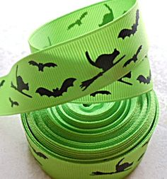 Halloween bats & cats printed on lime green 7/8  by IsamayDesigns, $1.55