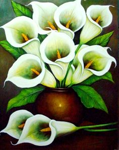Paisajes y Bodegones en Pintura: Jarrones con bellas flores pintadas en óleo
