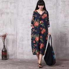 Women Print Casual Loose Fitting Oversized Cotton and Linen Long Dress - Buykud - 1