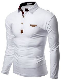 Doublju Mens Denim Collar Pocket Point Longsleeve Polo Shirts #doublju Best Dress Shirts, Polo Shirt Outfits, Polo T Shirts, Mens Designer Shirts, Designer Clothes For Men, Cool Outfits, Casual Outfits, Men Casual, Hype Clothing