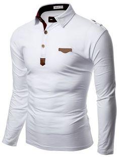 Doublju Mens Denim Collar Pocket Point Longsleeve Polo Shirts #doublju Polo Shirt Outfits, Polo T Shirts, Mens Fashion Suits, Men's Fashion, Cool Outfits, Casual Outfits, Men Casual, Hype Clothing, Mens Designer Shirts