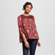 Women's Printed Bell Sleeve Top with Lace Yoke - Knox Rose Burgundy Xxl, Red