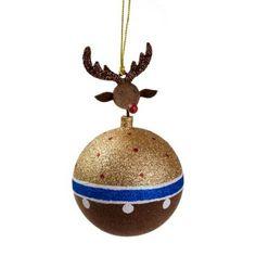 Brown & Gold Reindeer Hanging Bauble - 8cm