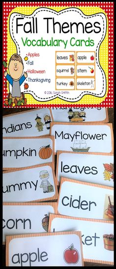 Fall Vocabulary and Picture Word Cards Seasonal Bulletin Boards, Halloween Apples, Preschool Pictures, Illustrated Words, Kindergarten Themes, First Grade Writing, Thanksgiving Preschool, Word Work Activities, Thing 1