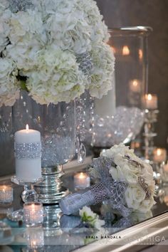 Sparkle Gene Higa Braja Mandala Sparkle + Crystal + White Wedding Theme So beautiful! Reception Decorations, Wedding Centerpieces, Wedding Table, Our Wedding, Dream Wedding, Wedding Reception, Silver Wedding Decorations, Silver Weddings, Tall Centerpiece
