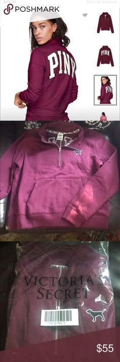 💕Pink quarter zip pullover. 💕NEW💕 NEW! Quarter zip Pink pullover. I bought online and it didn't come with tags attached. Tag says large but to me, it would best fit a medium or a loose fit for a size small. It is a slim fit, not oversized.  I am listing this as a size medium. Don't hesitate to ask any questions! And please check my other listings for items at great prices!i would trade for Pink or Victoria's Secret. PINK Victoria's Secret Tops Sweatshirts & Hoodies