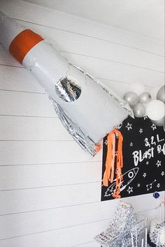Rocket Balloon from a Monochromatic Space Rocket Party on Kara's Party Ideas | KarasPartyIdeas.com (22)