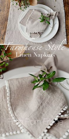 Farmhouse Style Linen Napkins with Pom Pom Fringe. #ad Absolutely adorable and perfectly beautiful neutral napkins. Perfect for a stunning dining table set. #farmhouse #farmhousestyle #farmhousedecor #napkins #dining #neutral