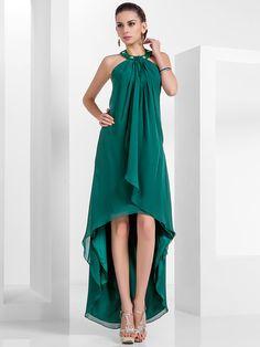 una línea cabestro vestido de noche de gasa asimétrica - MXN $1,521.73